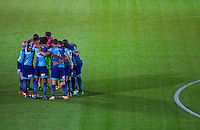The Wycombe team pre match huddle during the The Checkatrade Trophy match between Wycombe Wanderers and West Ham United U21 at Adams Park, High Wycombe, England on 4 October 2016. Photo by Andy Rowland.