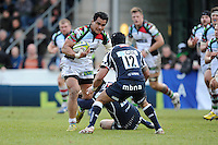 20130317 Copyright onEdition 2013©.Free for editorial use image, please credit: onEdition..Maurie Fa'asavalu of Harlequins keeps an eye on Sam Tuitupou of Sale Sharks during the LV= Cup Final between Harlequins and Sale Sharks at Sixways Stadium on Sunday 17th March 2013 (Photo by Rob Munro)..For press contacts contact: Sam Feasey at brandRapport on M: +44 (0)7717 757114 E: SFeasey@brand-rapport.com..If you require a higher resolution image or you have any other onEdition photographic enquiries, please contact onEdition on 0845 900 2 900 or email info@onEdition.com.This image is copyright onEdition 2013©..This image has been supplied by onEdition and must be credited onEdition. The author is asserting his full Moral rights in relation to the publication of this image. Rights for onward transmission of any image or file is not granted or implied. Changing or deleting Copyright information is illegal as specified in the Copyright, Design and Patents Act 1988. If you are in any way unsure of your right to publish this image please contact onEdition on 0845 900 2 900 or email info@onEdition.com