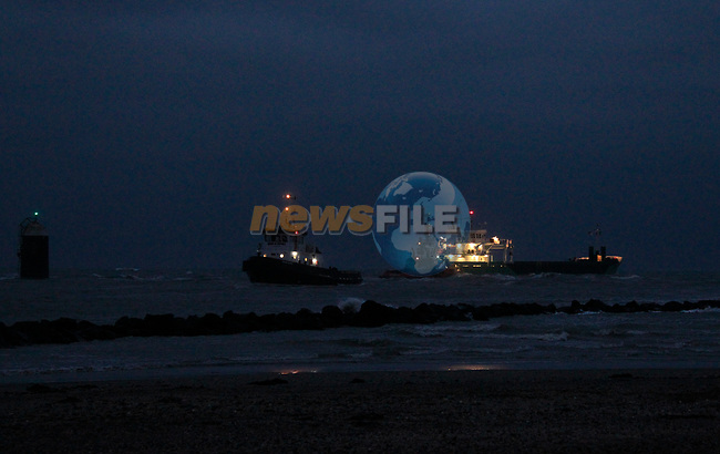 "Tugboats ""Masterman"" and ""MourneVenture"" assisting the MV Arklow Valour after she ran aground at the mouth of the River Boyne at Mornington, Co. Louth on Friday 14th December 2018.<br /> Picture:  Thos Caffrey / www.newsfile.ie"