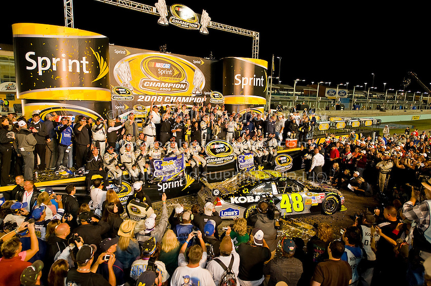 14-16 November 2008, Homestead, Florida USA.2008 Champion Jimmie Johnson and tem celebrate..©F.Peirce Williams 2008.F. Peirce Williams.photography