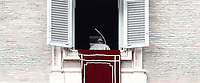 Papa Francesco si allontana dalla finestra del suo studio dopo l'Angelus domenicale, Citta' del Vaticano, 12 novembre, 2017.<br /> Pope Francis leaves at the end of the Sunday Angelus noon prayer from the window of his studio overlooking St. Peter's Square, at the Vatican, on November 12, 2017.<br /> UPDATE IMAGES PRESS/IsabellaBonotto<br /> <br /> STRICTLY ONLY FOR EDITORIAL USE