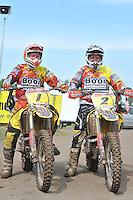 MOTORCROSS: JOURE: 25-08-2013, Circuit Polderbosk, Rolf (#1) en Sipke Booi (#2) uit Langweer van de Booi Brothers, ©foto Martin de Jong