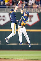 Michigan Wolverines outfielder Jesse Franklin (7) celebrates with teammate Jack Blomgren (2) after winning Game 6 of the NCAA College World Series against the Florida State Seminoles on June 17, 2019 at TD Ameritrade Park in Omaha, Nebraska. Michigan defeated Florida State 2-0. (Andrew Woolley/Four Seam Images)