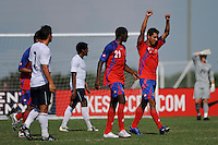 Josue Martinez (17) of Costa Rica celebrates scoring the game's first goal. The US U-20 Men's National Team defeated the U-20 Men's National Team of Costa Rica 2-1 in an international friendly during day four of the US Soccer Development Academy  Spring Showcase in Sarasota, FL, on May 25, 2009.