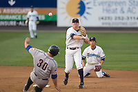 August 4, 2009: Everett AquaSox second baseman Hawkins Gebbers attempts to turn a double play during a Northwest League game against the Boise Hawks at Everett Memorial Stadium in Everett, Washington.