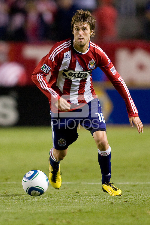 CD Chivas USA midfielder Blair Gavin (18) looks down field while moving with the ball. The Philadelphia Union and CD Chivas USA played to 1-1 draw at Home Depot Center stadium in Carson, California on Saturday evening July 3, 2010..