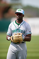 Daytona Tortugas center fielder Taylor Trammell (5) warms up before a game against the Florida Fire Frogs on April 7, 2018 at Osceola County Stadium in Kissimmee, Florida.  Daytona defeated Florida 4-3 in a six inning rain shortened game.  (Mike Janes/Four Seam Images)