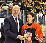 09.01.2020, BLZ Arena, Füssen / Fuessen, GER, IIHF Ice Hockey U18 Women's World Championship DIV I Group A, <br /> Siegerehrung, <br /> im Bild Ehrung der besten Stuermerin des Turniers, Yumeka Wajima (JPN, #12), DEB Praesident Franz Reindl<br /> <br /> Foto © nordphoto / Hafner