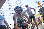 Chris Froome (GBR) Team Sky signs on before the start of Stage 2 of the 101st edition of the Giro d'Italia 2018 running 167km from Haifa to Tel Aviv, Israel. 5th May 2018.<br /> Picture: LaPresse/Gian Mattia D'Alberto | Cyclefile<br /> <br /> <br /> All photos usage must carry mandatory copyright credit (&copy; Cyclefile | LaPresse/Gian Mattia D'Alberto)