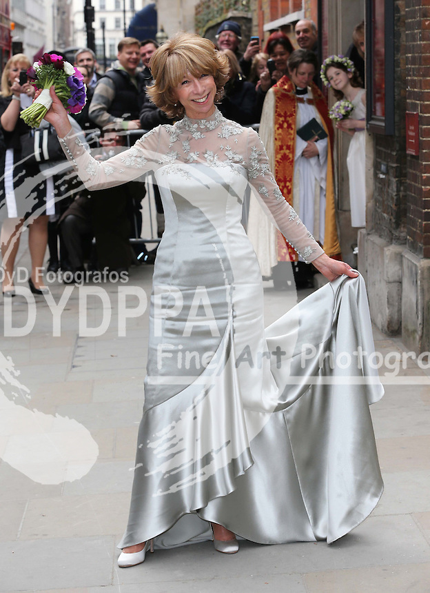 Coronation Street actress Helen Worth arriving for her wedding to Trevor Dawson  at St.James's Church in Piccadilly, London, Saturday 6th   April 2013.  Photo by: Stephen Lock / i-Images / DyD Fotografos