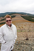 Marie-José Lahore-Bergez Chateau des Erles. In Villeneuve-les-Corbieres. Fitou. Languedoc. Owner winemaker. Spectacular view vista over the hilltop vineyard dominated by schist. France. Europe.