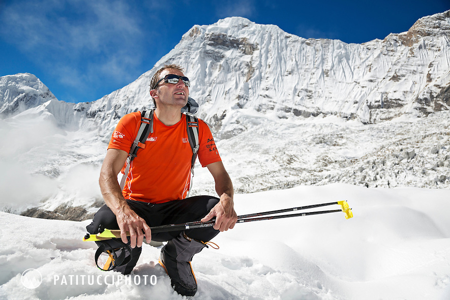 Ueli Steck returned to Nepal and the Annapurna south face in 2013 which he climbed solo, without oxygen, in one 28 hour alpine push, via a new route. The trip was his third attempt to climb the 8000 meter peak. Ueli looking back up to Annapurna and the route he had just come down from.