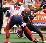 SIOUX FALLS, SD - MAY 16:  Patrick Wells #4 from the Sioux Falls Storm brings down Cody Kirby #18 form the Bemidji Axemen in the second half of their game Saturday night at the Sioux Falls Arena. (Photo by Dave Eggen/Inertia)