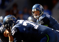 Sep 25, 2005; Seattle, WA, USA; Seattle Seahawks quarterback #8 Matt Hasselbeck drops back to pass against the Arizona Cardinals in the second quarter at Qwest Field. Mandatory Credit: Photo By Mark J. Rebilas