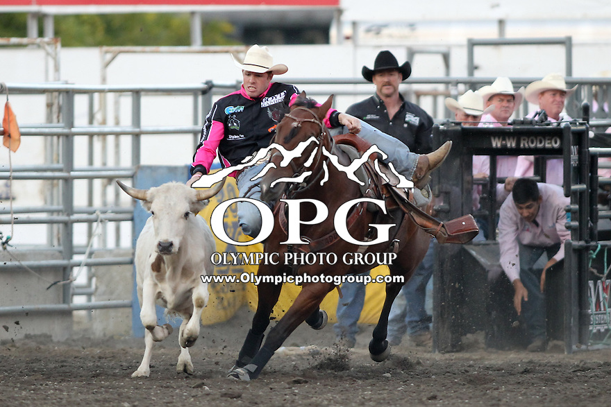 2013-08-24:  Josh Peek scored a 3.5 in the Steer Wresting competition Saturday at the Kitsap County Stampede Rodeo in Bremerton, Washington.