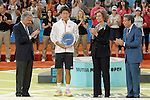 Japanese tennis player Kei Nishikori receives the second award in the singles final match from Queen Sofia of Spain and tournament president Manolo Santana during Madrid Open Tennis 2014 closing ceremony. May 11, 2014. (ALTERPHOTOS/Victor Blanco)