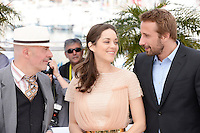 "Jacques Audiard, Marion Cotillard and Mathias Schoenaerts attending the ""De Rouille Et D'os"" Photocall during the 65th annual International Cannes Film Festival in Cannes, 17th May 2012...Credit: Timm/face to face /MediaPunch Inc. ***FOR USA ONLY***"
