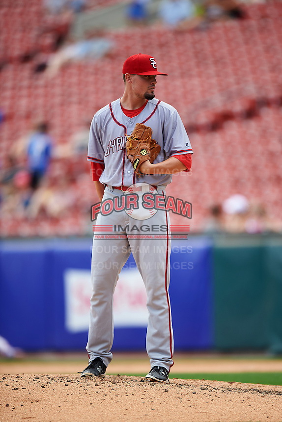 Syracuse Chiefs relief pitcher Koda Glover (29) during a game against the Buffalo Bisons on July 31, 2016 at Coca-Cola Field in Buffalo, New York.  Buffalo defeated Syracuse 6-5.  (Mike Janes/Four Seam Images)