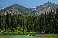 Kayakers, murphy lake, salt river range, alpine, Wyoming