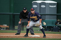 Andrew Vaughn (20) of the California Bears in the field at first base during a game against the UCLA Bruins at Jackie Robinson Stadium on March 25, 2017 in Los Angeles, California. UCLA defeated California, 9-4. (Larry Goren/Four Seam Images)