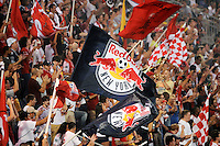 New York Red Bulls fans. The New York Red Bulls defeated the San Jose Earthquakes 2-0 during a Major League Soccer (MLS) match at Red Bull Arena in Harrison, NJ, on August 28, 2010.