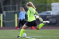 Piscataway, NJ, Saturday May 7, 2016. Sky Blue FC goalkeeper Caroline Stanley (18) takes a goal kick. The Western New York Flash defeated Sky Blue FC, 2-1, in a National Women's Soccer League (NWSL) match at Yurcak Field.