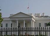 At 3:47 pm EDT on Monday, August 27, 2018, the American Flag is at half staff over the North Portico of the White House in Washington, DC . There has been some controversy if this is showing proper respect for the last United States Senator John McCain (Republican of Arizona).<br /> Credit: Ron Sachs / CNP