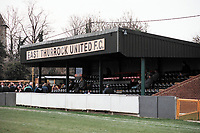 The main stand at East Thurrock United FC Football Ground, Rookery Hill, Corringham, Essex, pictured on 8th March 1997