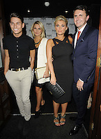 Joey Essex, Sam Faiers, Billie Faiers & boyfriend Greg ?.attended the Kensington Club new boutique nightclub launch party, The Kensington Club, High Street Kensington, London, England,.20th July 2012..full length black dress straps blue navy suit red tie towie cast couple white jacket sisters family date siblings hermes belt grey gray trousers shirt .CAP/CAN.©Can Nguyen/Capital Pictures.