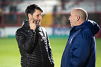 Lincoln City manager Danny Cowley, left, chats to Accrington Stanley manager John Coleman before kick off<br /> <br /> Photographer Andrew Vaughan/CameraSport<br /> <br /> The EFL Checkatrade Trophy Second Round - Accrington Stanley v Lincoln City - Crown Ground - Accrington<br />  <br /> World Copyright &copy; 2018 CameraSport. All rights reserved. 43 Linden Ave. Countesthorpe. Leicester. England. LE8 5PG - Tel: +44 (0) 116 277 4147 - admin@camerasport.com - www.camerasport.com