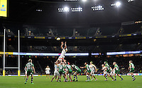 Nathan Hughes of Wasps rises high to win lineout ball. Aviva Premiership match, between London Irish and Wasps on November 28, 2015 at Twickenham Stadium in London, England. Photo by: Patrick Khachfe / JMP