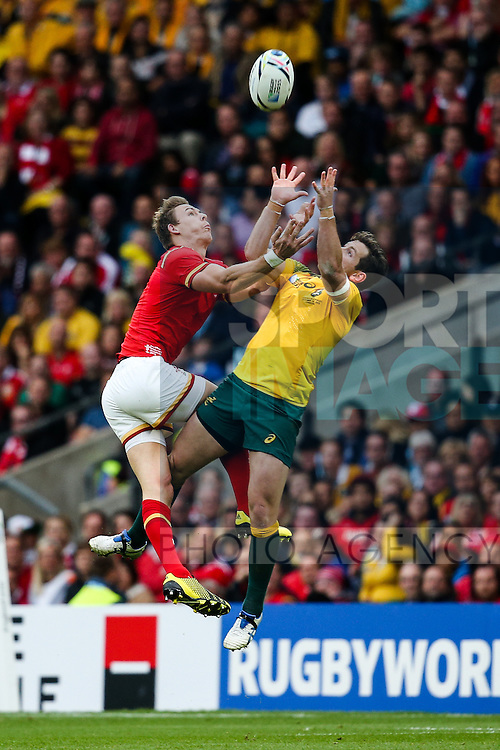 Wales' Liam Williams and Australia's Bernard Foley - Rugby World Cup 2015 - Pool A - Australia v Wales - Twickenham Stadium - London- England - 10th October 2015 - Picture Charlie Forgham Bailey/Sportimage