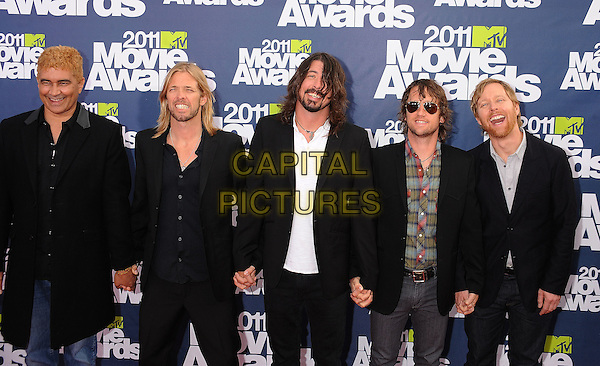 The Foo Fighters - Pat Smear, Taylor Hawkins, Dave Grohl, Chris Shiflett and Nate Mendel.The 2011 MTV Movie Awards held at Universal Studios Gibson Amphitheatre, Universal City, California, USA..June 5th, 2011.half length suit jacket shirt sunglasses shades black white beard facial hair .CAP/ROT/TM.©Tony Michaels/Roth Stock/Capital Pictures