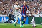 Karim Benzema of Real Madrid competes for the ball with Ivan Rakitic of FC Barcelona during the match of La Liga between Real Madrid and Futbol Club Barcelona at Santiago Bernabeu Stadium  in Madrid, Spain. April 23, 2017. (ALTERPHOTOS)