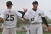 Pat Willix #42 of Wantagh, right, gets congratulated by teammate Brendan Hass #25 after making the switch from first base to the mound to pick up a one-out save in Wantagh's 7-6 win over Division Avenue in a Nassau County varsity baseball game at Wantagh High School on Thursday, May 4, 2017.