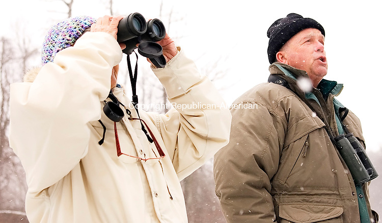 Goshen, CT-03, January 2010-010310CM06 --  Ronnie Santo of Torrington,  tries to locate birds as Ray Belding of Torrington calls them out in Goshen Sunday morning.  The duo was out counting birds which was apart of the annual Christmas bird count from the Sharon Audubon Society in Falls Village.  Christopher Massa Republican-American