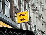 Hotel info sign, Amsterdam, Netherlands