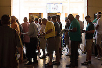 HALLANDALE BEACH, FL - FEBRUARY 04: Fans standing in line at the betting windows. Scenes from Gulfstream Park, at Gulfstream Park, Hallandale Beach, FL. (Photo by Arron Haggart/Eclipse Sportswire/Getty Images)
