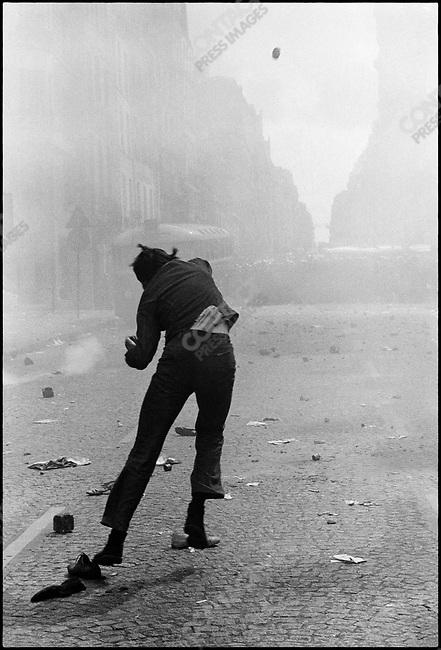 Student riots, rue Saint Jacques, Paris, France, May 6, 1968