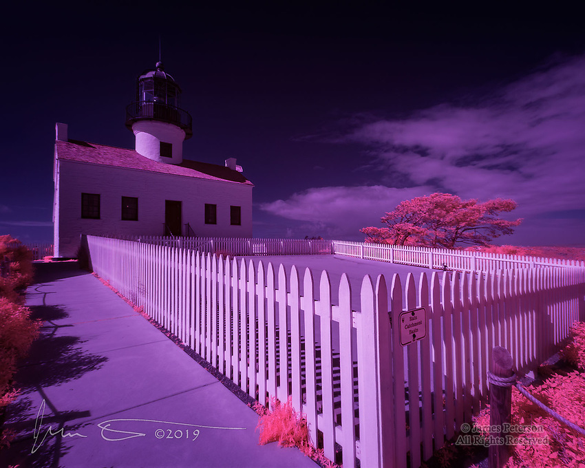 Old Point Loma Lighthouse (Infrared).  Completed in 1855 on a hill overlooking San Diego Bay, this was the highest lighthouse above sea level in the country.  That turned out not to be a good thing, however, because coastal fog often made its light invisible to ships below.  So it was superseded in 1891 by a new light at a lower elevation.  It is now operated as a museum within the Cabrillo National Monument.<br /> <br /> Image © 2019 James D Peterson.