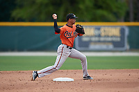 Baltimore Orioles Irving Ortega (26) throws to first base during a Minor League Spring Training game against the Tampa Bay Rays on March 16, 2019 at the Buck O'Neil Baseball Complex in Sarasota, Florida.  (Mike Janes/Four Seam Images)