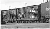 3/4 view of D&amp;RGW stock car #5931 in train at Alamosa.<br /> D&amp;RGW  Alamosa, CO  Taken by Richardson, Robert W. - 12/4/1948