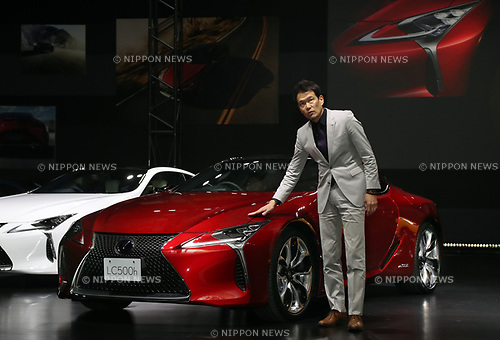 "March 16, 2017, Tokyo, Japan - Toyota Motor's luxury car brand Lexus International chief designer Tadao Mori displays the company's flagship coupe ""Lexus LC"" with price from 13 million yen (115,000 US dollars) in Tokyo on Thursday, March 16, 2017. The Lexus LC has V8 5.0-litter or V6 3.5-litter hybrid engine to drive rear wheels.    (Photo by Yoshio Tsunoda/AFLO) LwX -ytd-"