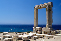 Naxos, Greece, Greek Islands, Cyclades, Europe, Temple of Apollo on islet of Palatia on Naxos Island on the Aegean Sea.