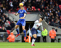 Jonny Evans of Leicester City and Son Heung-Min of Tottenham Hotspur during Tottenham Hotspur vs Leicester City, Premier League Football at Wembley Stadium on 10th February 2019