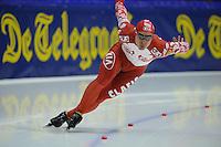 SCHAATSEN: HEERENVEEN: Thialf, Essent ISU World Cup, 02-03-2012, 500m Men, Dmitry Lobkov (RUS), ©foto: Martin de Jong