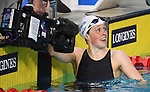 Hannah Miley (SCO)  celebrates after winning silver in the womens 400m Individual medley. Swimming finals. XXI Commonwealth games. Optus Aquatics Centre. Gold Coast 2018. Queensland. Australia. 05/04/2018. ~ MANDATORY CREDIT Garry Bowden/SIPPA - NO UNAUTHORISED USE - +44 7837 394578