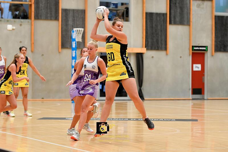 Pulse&rsquo; Elle Temu in action during the Netball Pre Season Tournament - Pulse v Stars at Ngā Purapura, Otaki, New Zealand on Saturday 9 February  2019. <br /> Photo by Masanori Udagawa. <br /> www.photowellington.photoshelter.com
