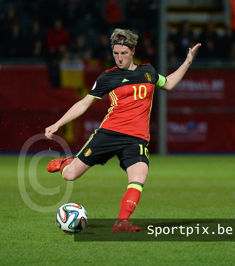 20160412 - LEUVEN ,  BELGIUM : Belgian Alina Zeler pictured during the female soccer game between the Belgian Red Flames and Estonia , the fifth game in the qualification for the European Championship in The Netherlands 2017  , Tuesday 12 th April 2016 at Stadion Den Dreef  in Leuven , Belgium. PHOTO SPORTPIX.BE / DIRK VUYLSTEKE
