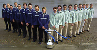 PUTNEY, LONDON, ENGLAND, 06.03.2006, Both crew line up on the shore for the photo session as te 2006 boat race crew line up is announced at the, 2006 Presidents Challenge and Boat Race Crew announcement, held at the Winchester Club, Putney. [Oxford left]  © Peter Spurrier/Intersport-images.com..CUBC, Bow Luke Walton, No. 2 Tom Edwards, No.3 Sebastian Thormann, No 4. Thorsten Englemann, No.5 Sebastian Schulte, No.6 Kieran West, No.7 Tom James, stroke Kip McDaniel and cox Peter Rudge...OUBC, Bow Robin Esjmond-Frey, No.2 Colin Smith, No.3 Jake Wetzel, No.4 Paul Daniels, No.5 James Schroeder. No.6 Barney Williams, No. 7 Tom Parker, stroke Bastien Ripoll, and cox Nick Brodie,..[Mandatory Credit Peter Spurrier/ Intersport Images] Varsity:Boat Race